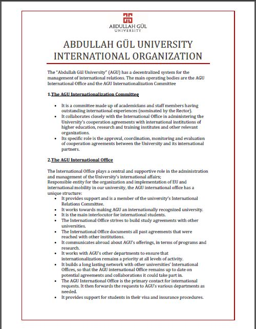 abdullah gül university, agu, international organization, internationalization